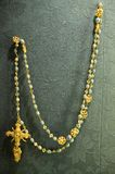 A close up of golden rosary that Pope owned in the Sevilla Cathedral, Southern Spain Royalty Free Stock Photography