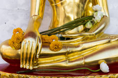 close-up Golden Statue of Buddha at thai temple in Songkran fest Royalty Free Stock Image
