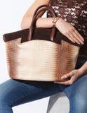 Close-up of a golden woman bag Stock Images