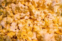 Close up of golden yellow buttered popped corn texture and details Royalty Free Stock Images
