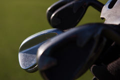 Close up golf bag on course Stock Image