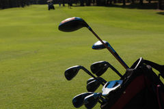 Close up golf bag on course Royalty Free Stock Images