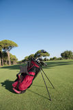 Close up golf bag on course Royalty Free Stock Photos