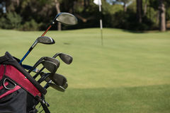 Close up golf bag on course Stock Images