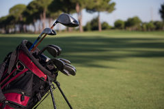 Close up golf bag on course Stock Photos