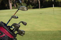 Close up golf bag on course Royalty Free Stock Image