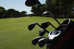 Close up golf bag on course Royalty Free Stock Photo