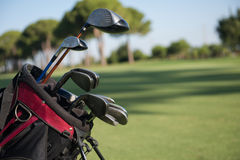 Close up golf bag on course Stock Photo