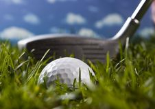 Close up of a golf ball Royalty Free Stock Image