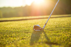 Close-up of golf ball with club Royalty Free Stock Images