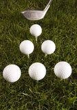 Close up of a golf ball on the tee Stock Image
