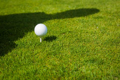 Close up of golf ball on tee with copy space Stock Photos