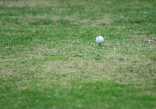 Close up of golf ball on tee. Stock Photo