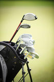 Close up of golf club. With green background stock photography