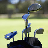 Close-up of golf clubs in a bag Royalty Free Stock Photos