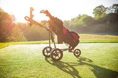 Close-up of golf trolley. Stock Photos