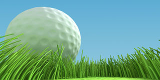 Close-up golfball on grass. 3d illustration. Close-up golfball on a green field. 3d illustration Stock Photo