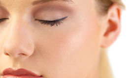Close up on gorgeous blondes closed eye Royalty Free Stock Photo