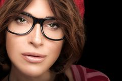 Cool Trendy Eyewear Portrait. Gorgeous Young Woman Face with Eye Stock Images