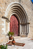 Close up on the Gothic portal of the medieval church of Santa Cruz. Royalty Free Stock Photos