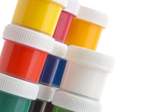 Close-up of gouache paint cans on white background royalty free stock images