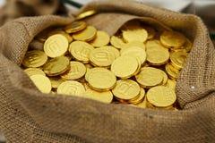 Close-up gouden muntstuk Royalty-vrije Stock Foto's