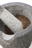 Close Up of Granite Mortar and Pestle Stock Photo