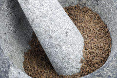 Close Up Granite Mortar and Pestle Royalty Free Stock Image
