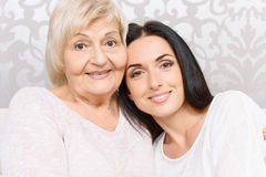 Close up of granny and granddaughter together Royalty Free Stock Photos