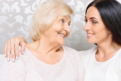 Close up of granny and granddaughter together Royalty Free Stock Photography
