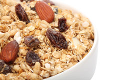 Close up of granola cereal on a bowl Stock Photo