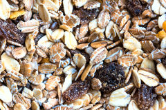 Close up of granola cereal with raisins and nuts Stock Photography