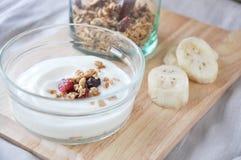Close up granola on yogurt Royalty Free Stock Image