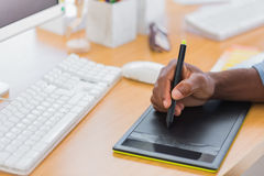 Close up of a graphic designer using graphics tablet Royalty Free Stock Photos
