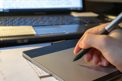 Close-up of a graphic tablet Stock Image