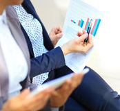 Close-up of graphs and charts analyzed Stock Image