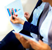 Close-up of graphs and charts analyzed Royalty Free Stock Images