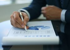 Close-up of graphs and charts Stock Image