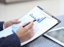 Close-up of graphs and charts Stock Images
