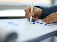 Close-up of graphs and charts Stock Photo