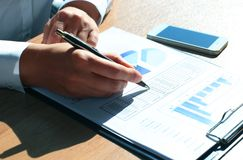 Close-up of graphs and charts Royalty Free Stock Photos