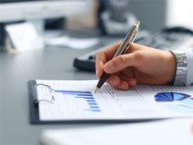 Close-up of graphs and charts Royalty Free Stock Images