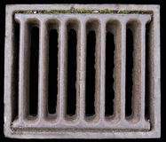 Close-up of a Grate. Covering a Sewer/Stormwater sump. Isolated on black Royalty Free Stock Photography