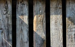 Close up of gray wooden fence panels Royalty Free Stock Photos