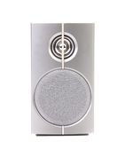 Close up of gray sound speaker. Royalty Free Stock Images