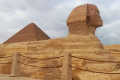 Close-up of Great Sphinx of Giza in Cairo, Egypt stock photo