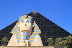 Close up of Great Sphinx of Giza and Pyramid tower, Luxor hotel Stock Photos