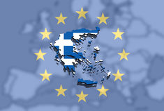 Close up on Greece map on Euro Union and Europe background Royalty Free Stock Photo