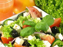 Close-up of greek salad with basil Royalty Free Stock Image