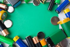 Close up of green alkaline batteries Stock Images